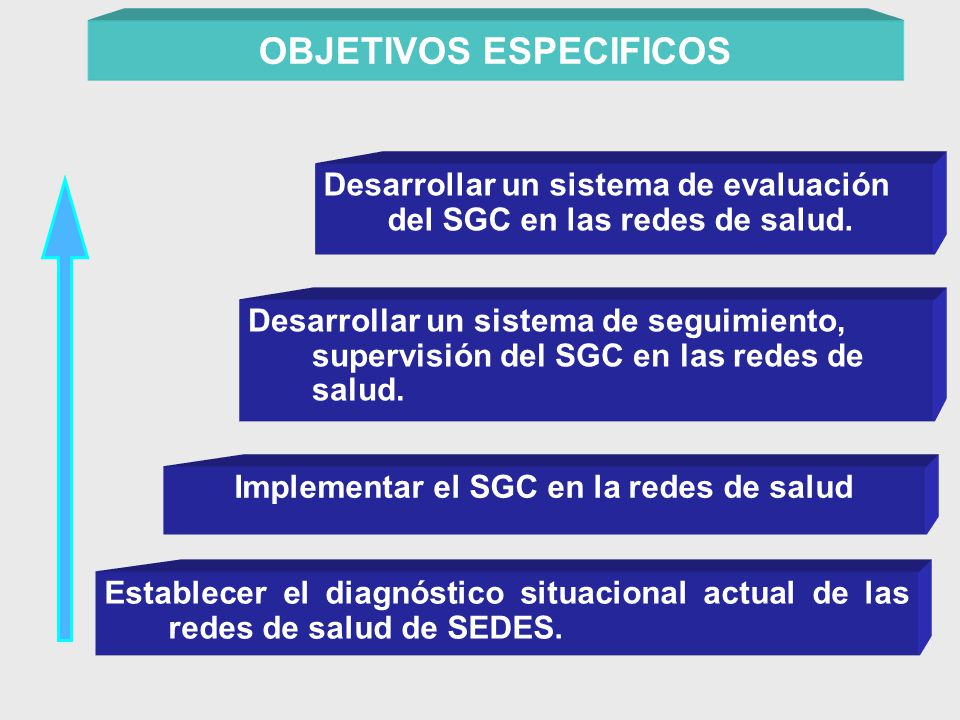 OBJETIVOS ESPECIFICOS Implementar el SGC en la redes de salud