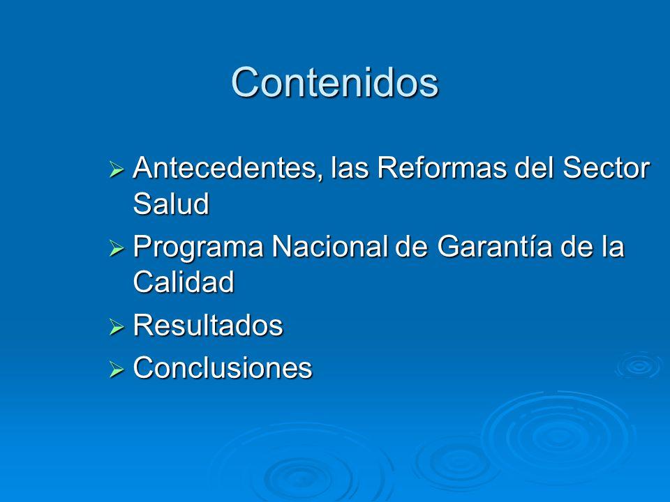 Contenidos Antecedentes, las Reformas del Sector Salud