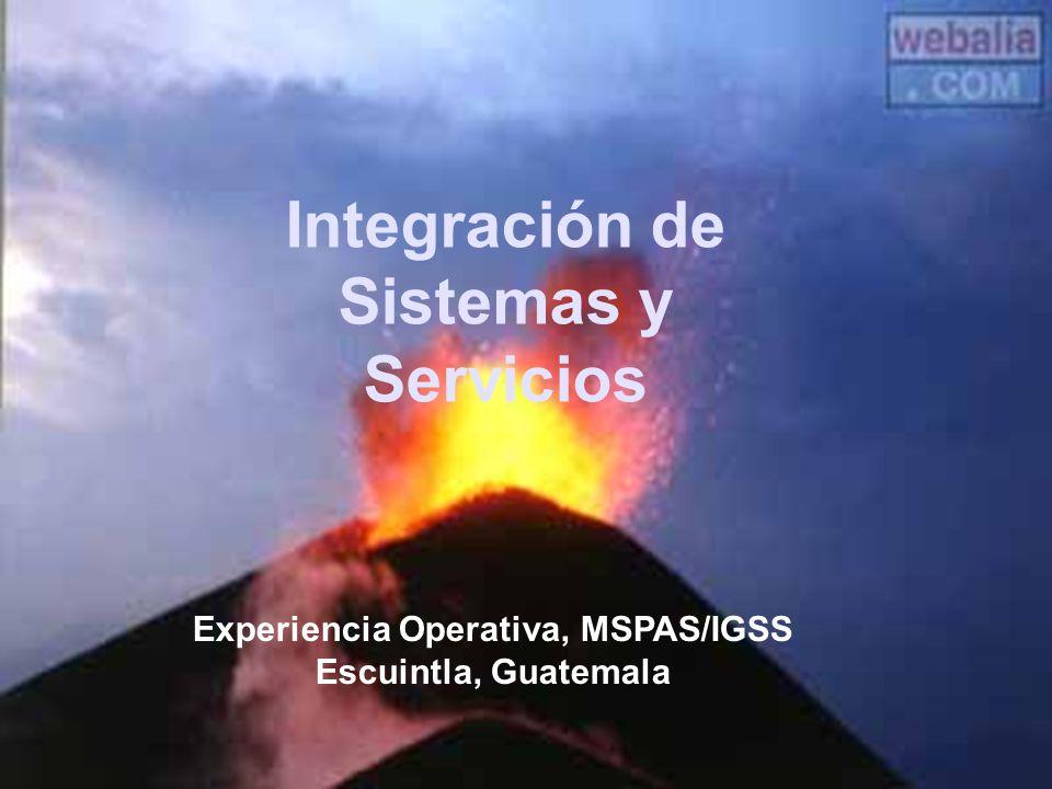 Integración de Sistemas y Servicios Experiencia Operativa, MSPAS/IGSS