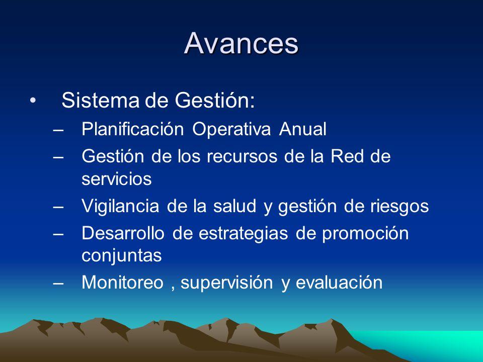 Avances Sistema de Gestión: Planificación Operativa Anual