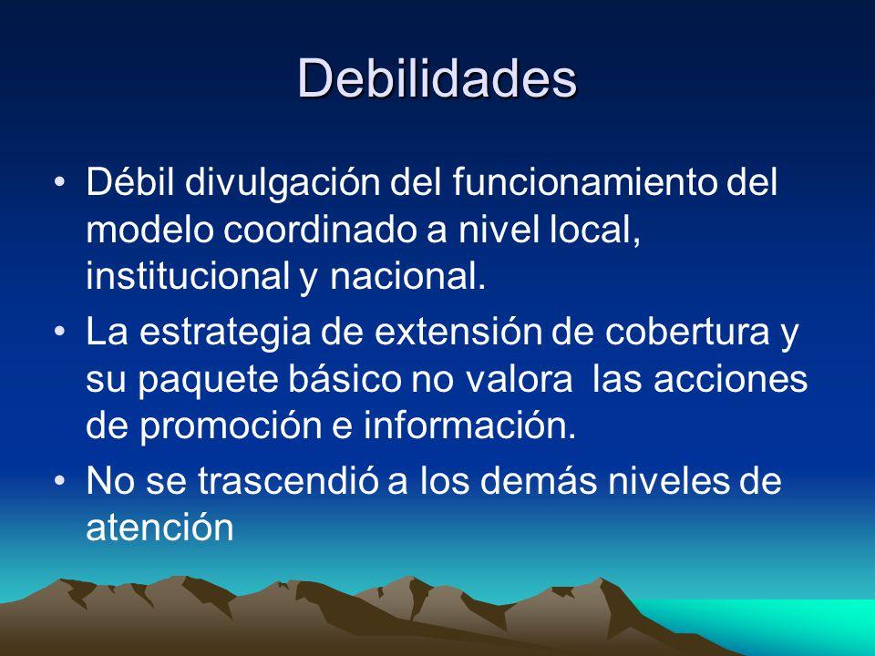 Debilidades Débil divulgación del funcionamiento del modelo coordinado a nivel local, institucional y nacional.