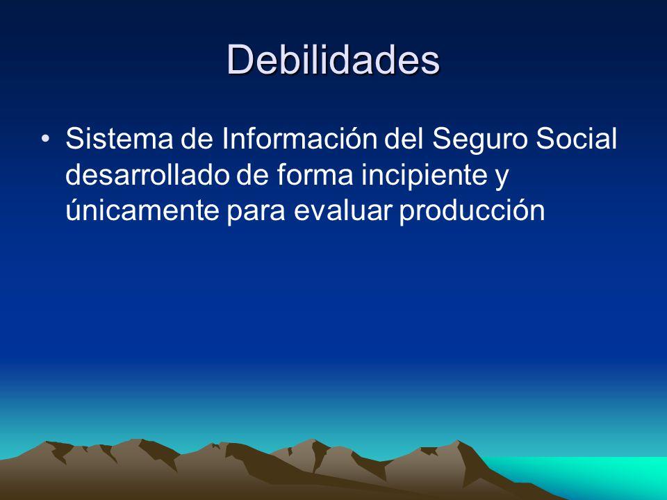Debilidades Sistema de Información del Seguro Social desarrollado de forma incipiente y únicamente para evaluar producción.
