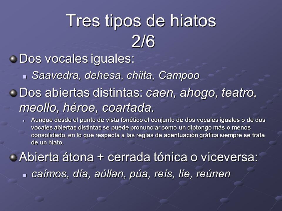Tres tipos de hiatos 2/6 Dos vocales iguales:
