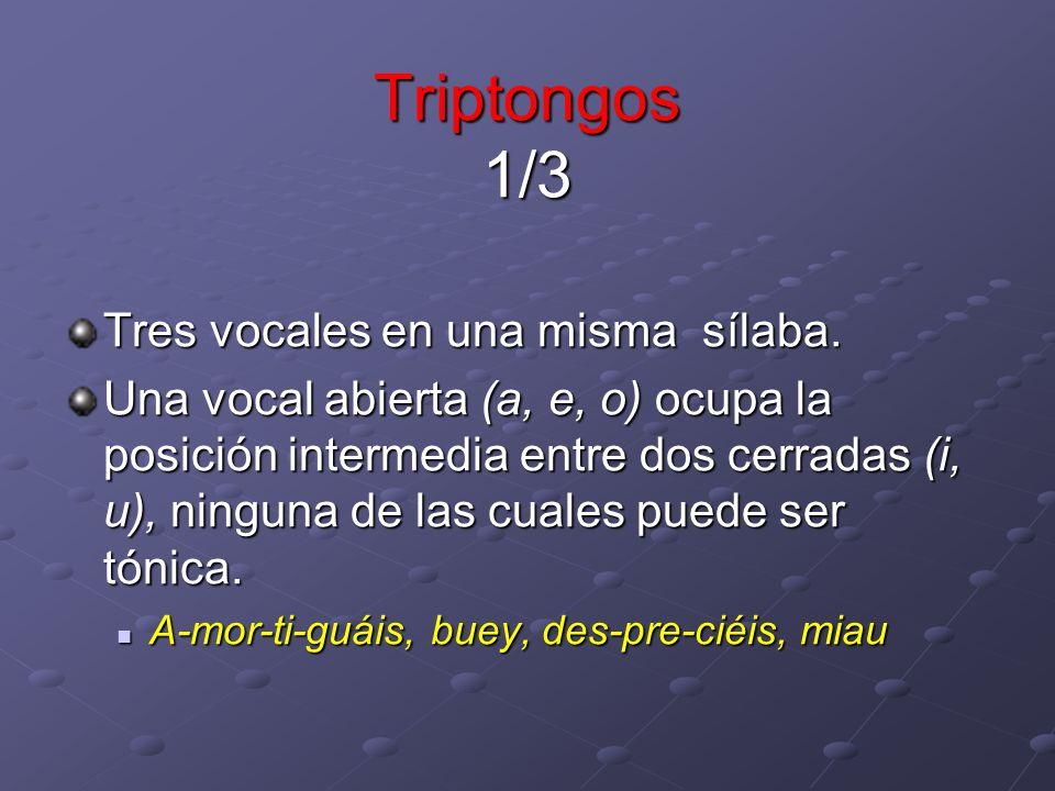 Triptongos 1/3 Tres vocales en una misma sílaba.