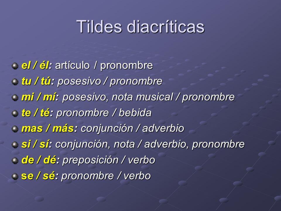 Tildes diacríticas el / él: artículo / pronombre