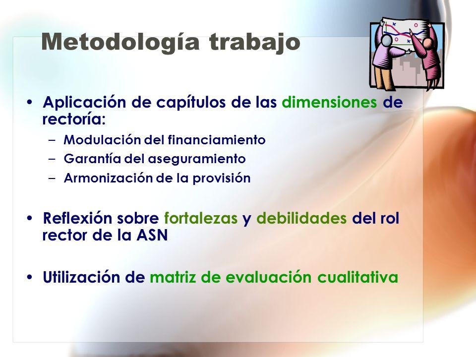 Metodología trabajo Aplicación de capítulos de las dimensiones de rectoría: Modulación del financiamiento.