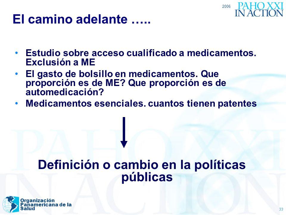 Definición o cambio en la políticas públicas