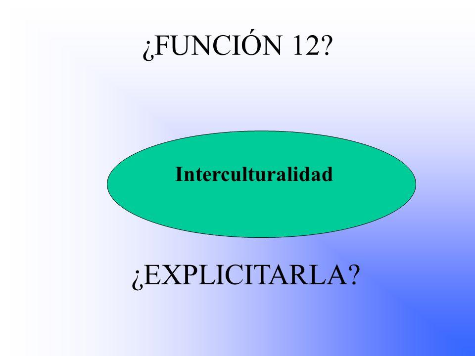¿FUNCIÓN 12 ¿EXPLICITARLA Interculturalidad