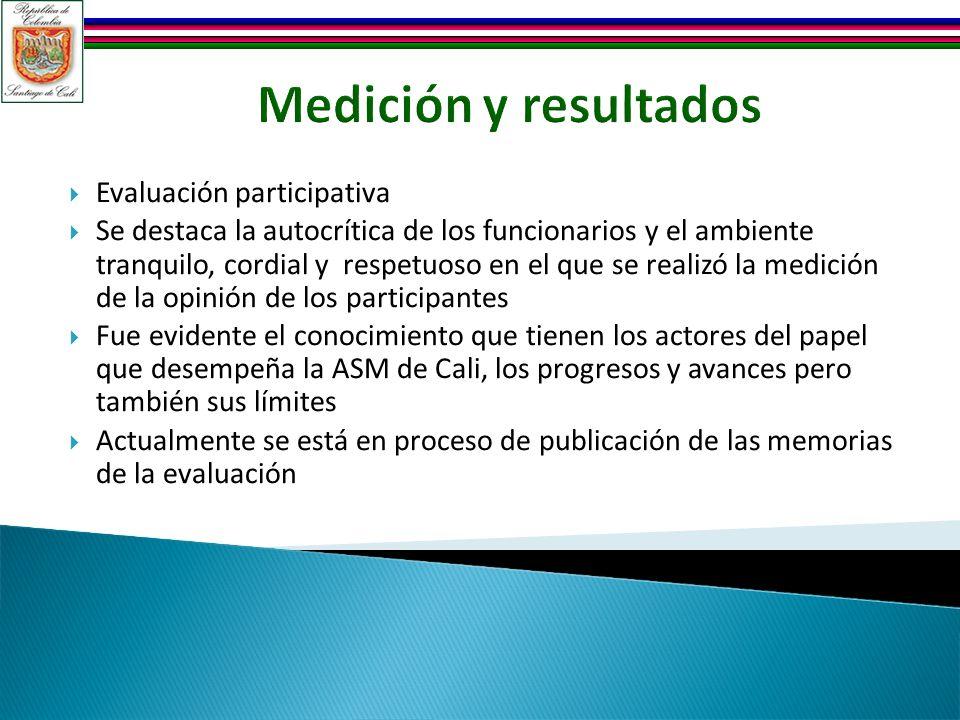 Medición y resultados Evaluación participativa