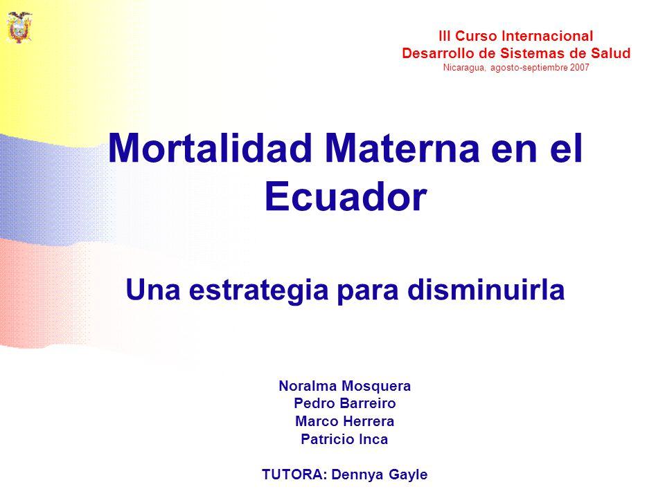 Mortalidad Materna en el Ecuador Una estrategia para disminuirla
