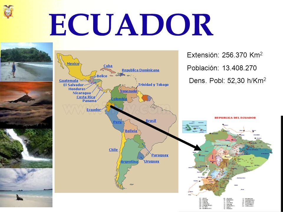 ECUADOR Extensión: 256.370 Km2 Población: 13.408.270