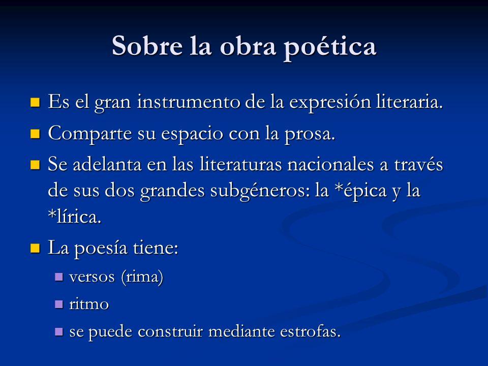 Sobre la obra poética Es el gran instrumento de la expresión literaria. Comparte su espacio con la prosa.