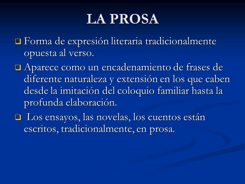 LA PROSA Forma de expresión literaria tradicionalmente opuesta al verso.