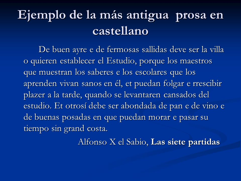 Ejemplo de la más antigua prosa en castellano