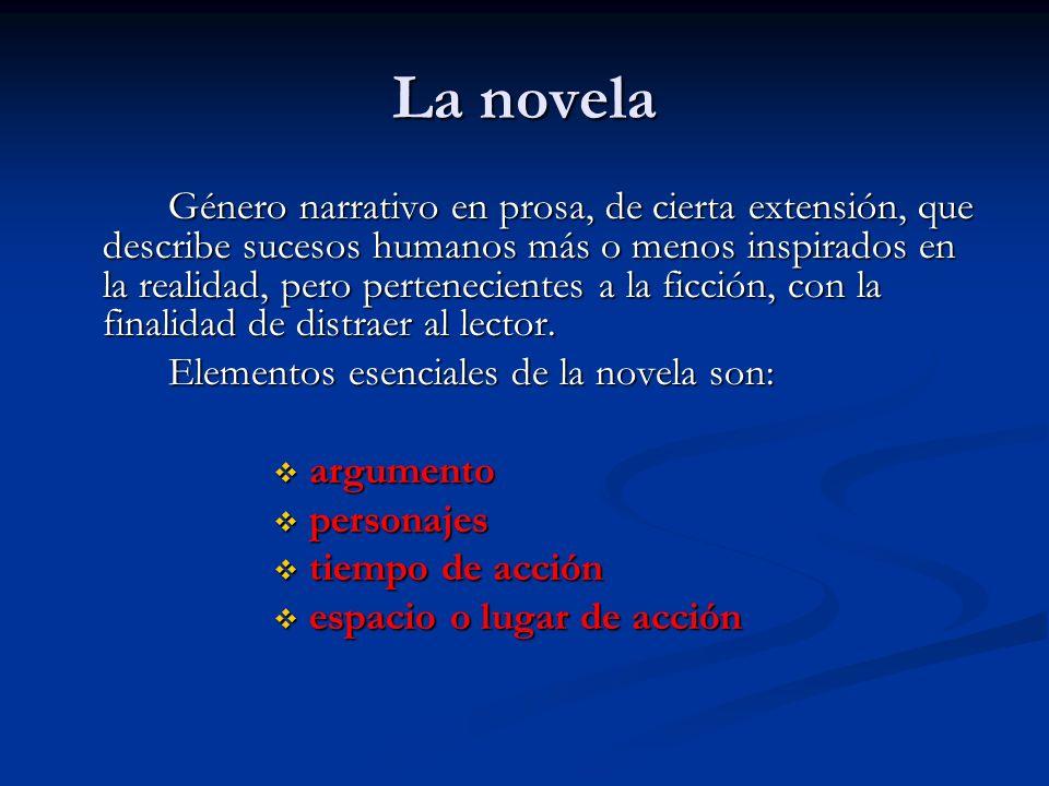La novela Elementos esenciales de la novela son: argumento personajes