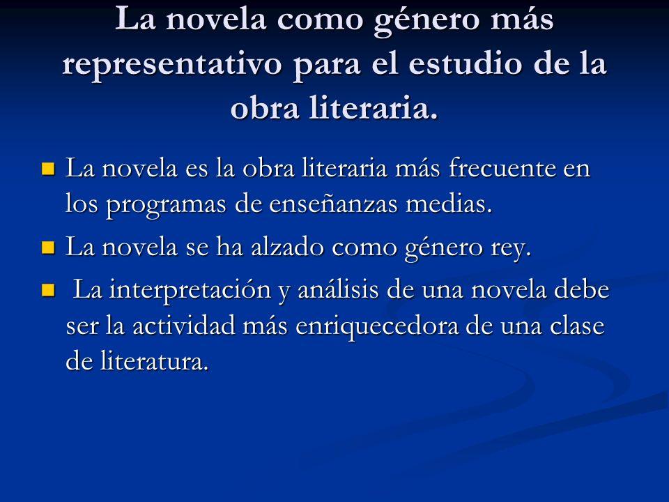 La novela como género más representativo para el estudio de la obra literaria.