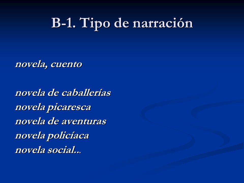 B-1. Tipo de narración novela, cuento novela de caballerías