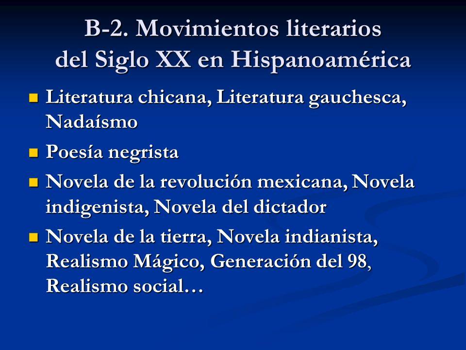 B-2. Movimientos literarios del Siglo XX en Hispanoamérica