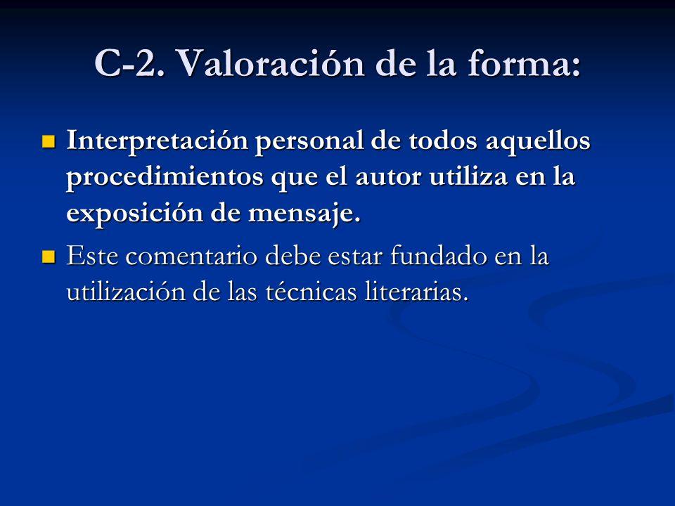 C-2. Valoración de la forma: