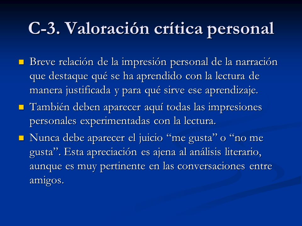 C-3. Valoración crítica personal