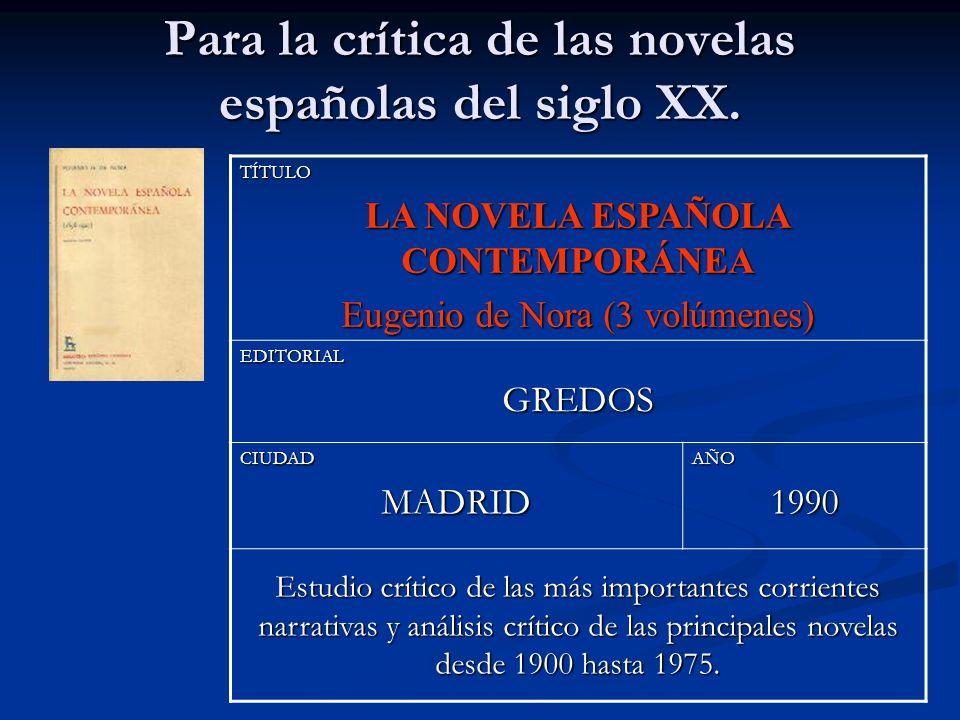 Para la crítica de las novelas españolas del siglo XX.