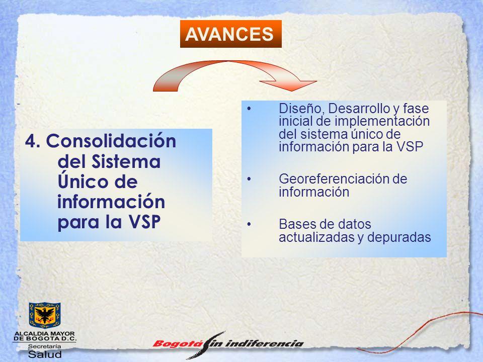 4. Consolidación del Sistema Único de información para la VSP