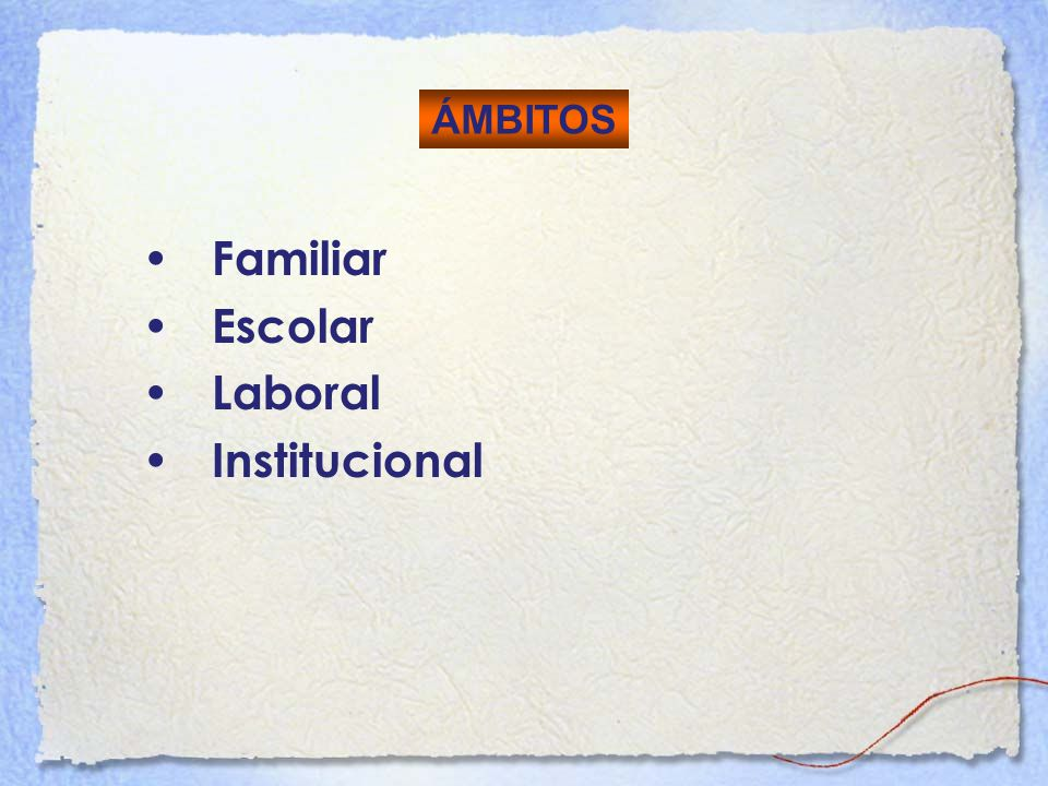 ÁMBITOS Familiar Escolar Laboral Institucional