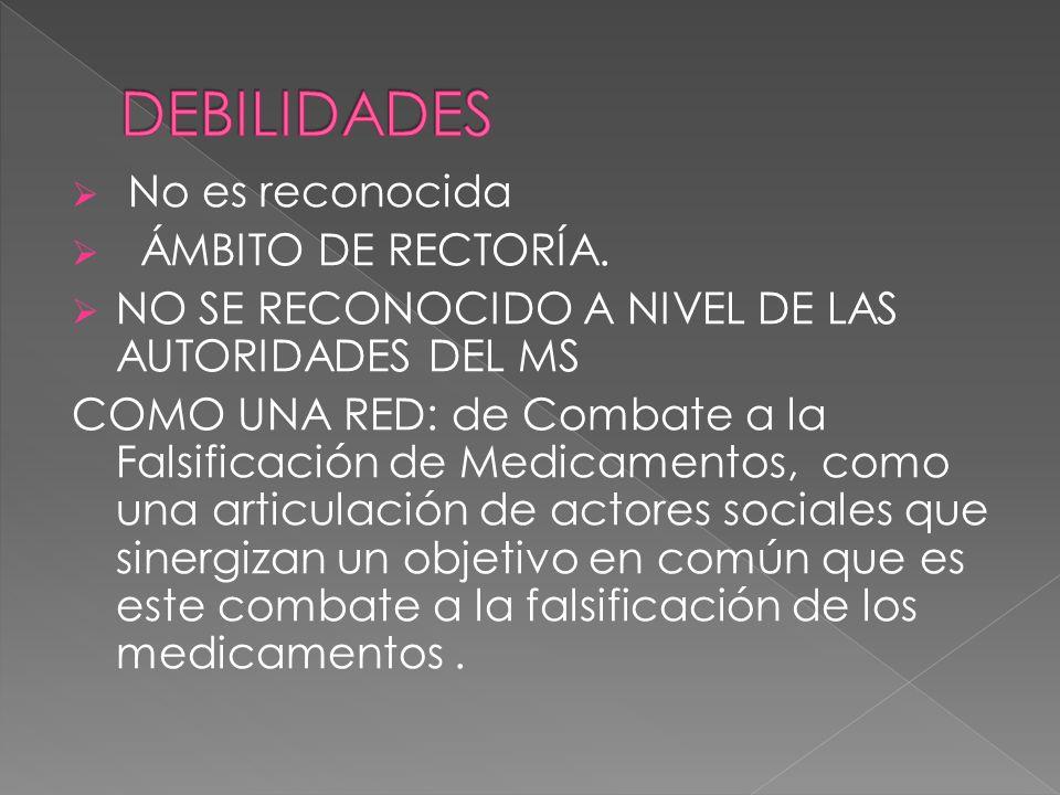 DEBILIDADES No es reconocida ÁMBITO DE RECTORÍA.