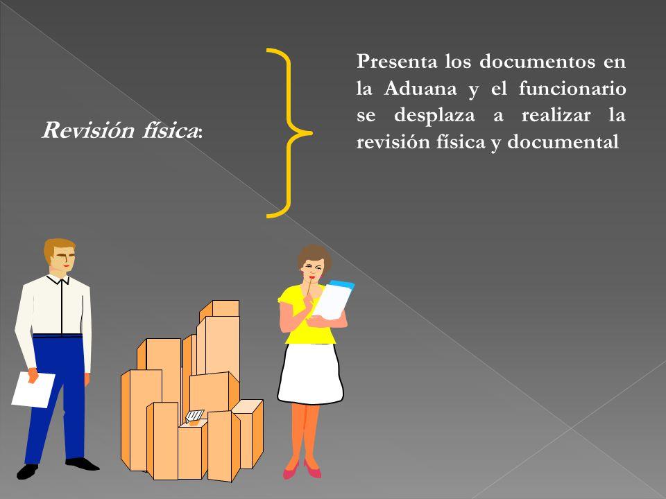 Presenta los documentos en la Aduana y el funcionario se desplaza a realizar la revisión física y documental