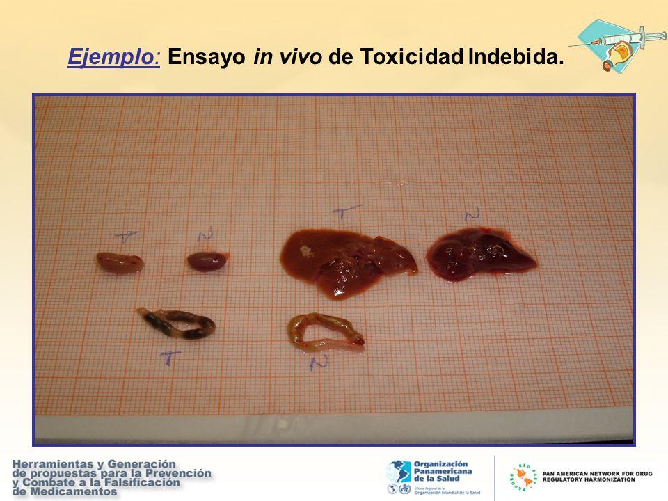 Ejemplo: Ensayo in vivo de Toxicidad Indebida.
