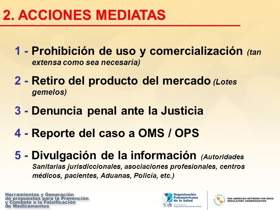 2. ACCIONES MEDIATAS 1 - Prohibición de uso y comercialización (tan