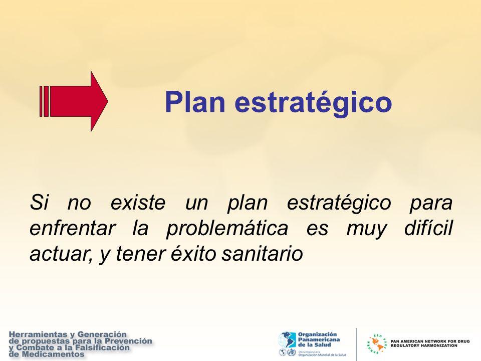 Plan estratégico Si no existe un plan estratégico para enfrentar la problemática es muy difícil actuar, y tener éxito sanitario.