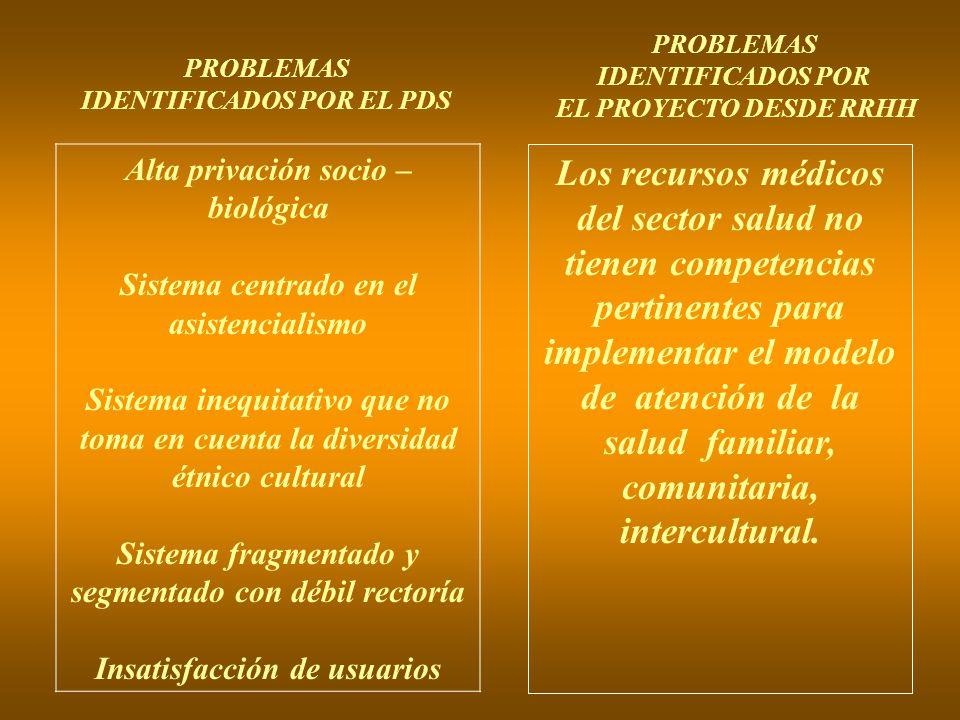 PROBLEMAS IDENTIFICADOS POR. EL PROYECTO DESDE RRHH. PROBLEMAS. IDENTIFICADOS POR EL PDS. Alta privación socio –biológica.