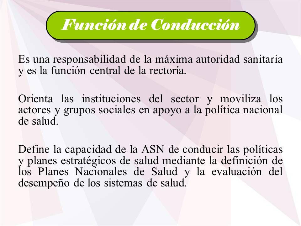 Función de Conducción Es una responsabilidad de la máxima autoridad sanitaria y es la función central de la rectoría.