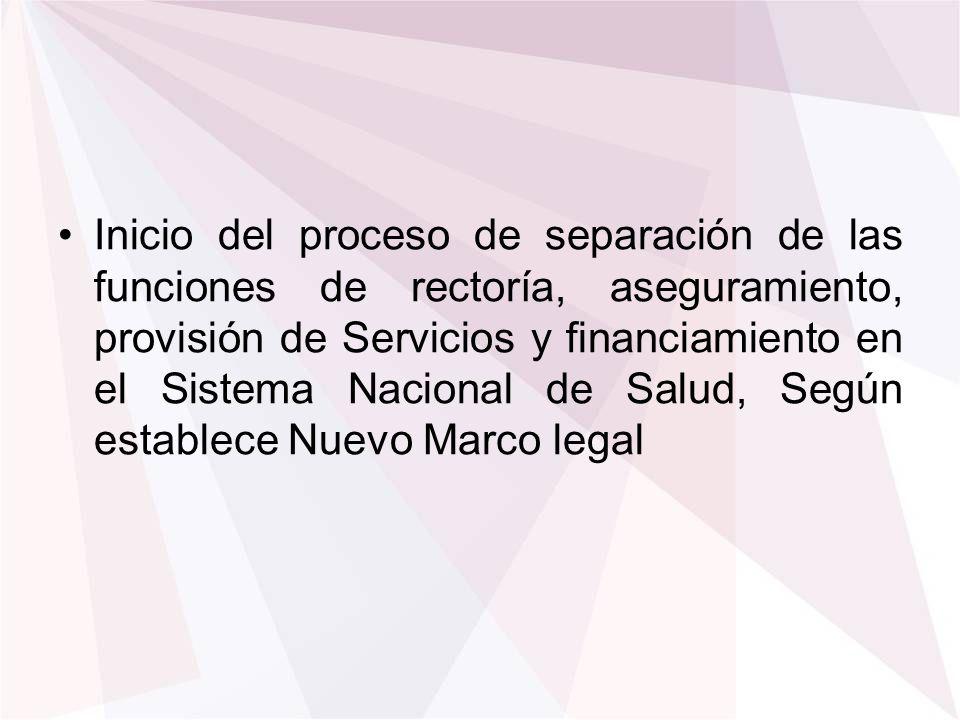 Inicio del proceso de separación de las funciones de rectoría, aseguramiento, provisión de Servicios y financiamiento en el Sistema Nacional de Salud, Según establece Nuevo Marco legal