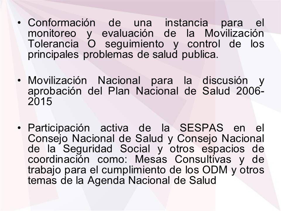 Conformación de una instancia para el monitoreo y evaluación de la Movilización Tolerancia O seguimiento y control de los principales problemas de salud publica.