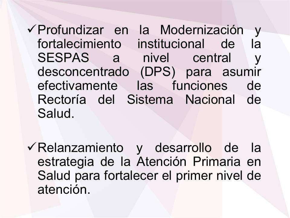 Profundizar en la Modernización y fortalecimiento institucional de la SESPAS a nivel central y desconcentrado (DPS) para asumir efectivamente las funciones de Rectoría del Sistema Nacional de Salud.