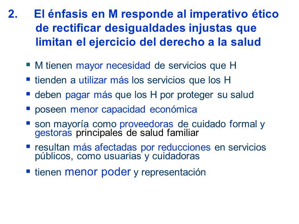 2. El énfasis en M responde al imperativo ético de rectificar desigualdades injustas que limitan el ejercicio del derecho a la salud