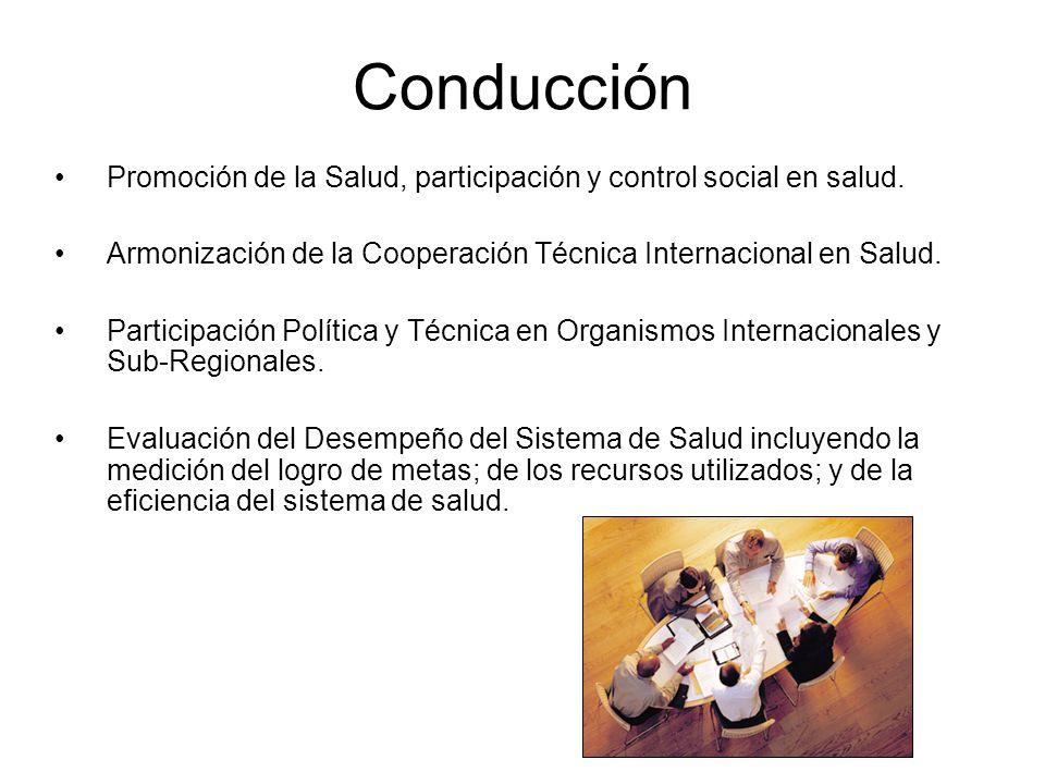 Conducción Promoción de la Salud, participación y control social en salud. Armonización de la Cooperación Técnica Internacional en Salud.