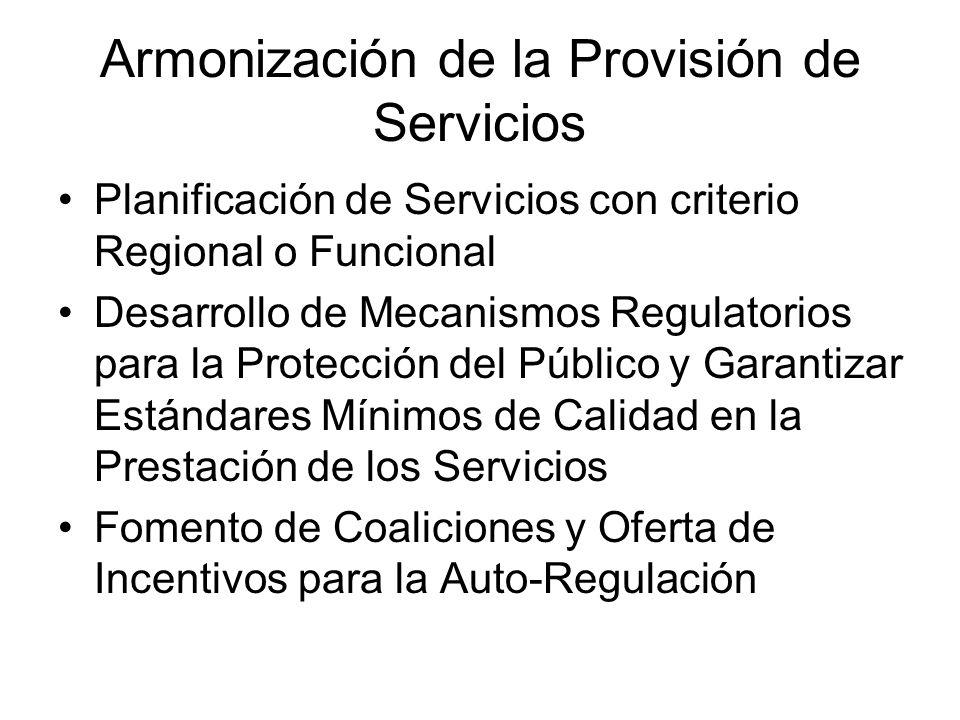 Armonización de la Provisión de Servicios