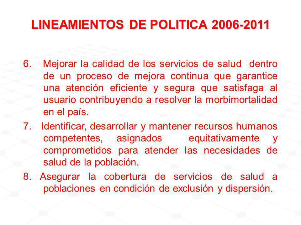 LINEAMIENTOS DE POLITICA 2006-2011