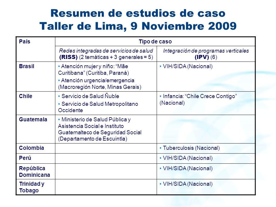 Resumen de estudios de caso Taller de Lima, 9 Noviembre 2009