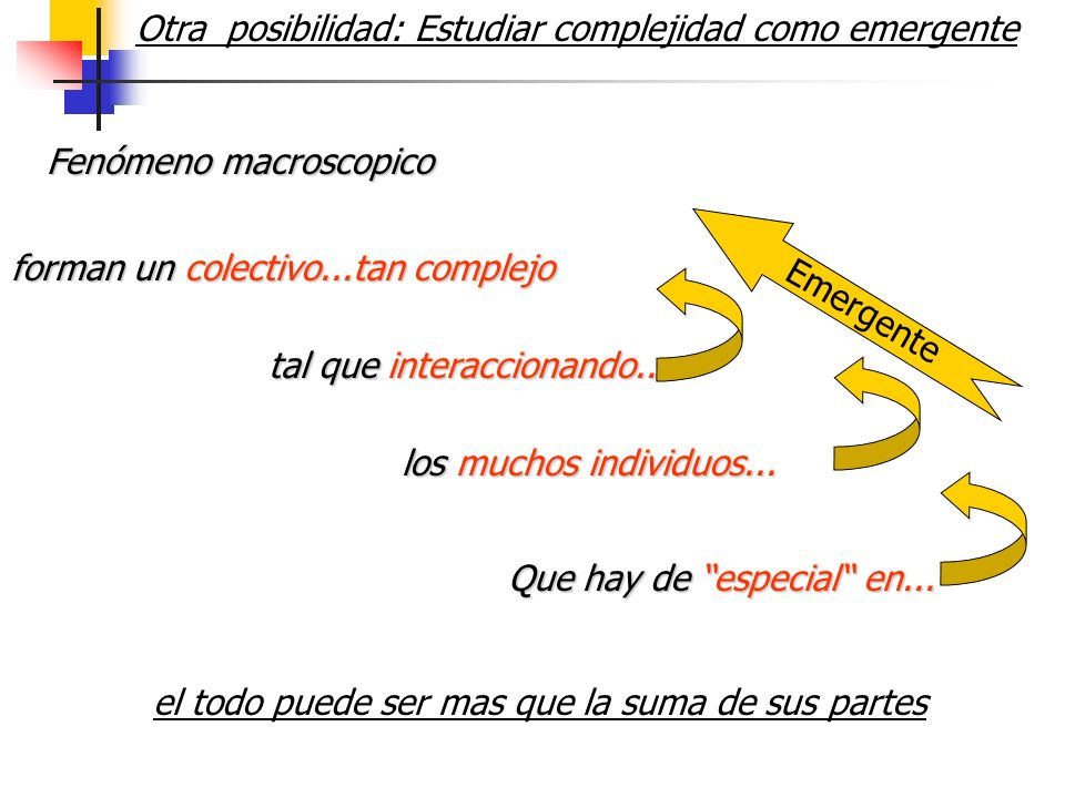 Otra posibilidad: Estudiar complejidad como emergente