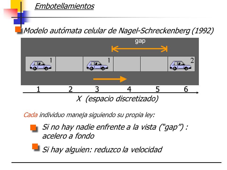 Modelo autómata celular de Nagel-Schreckenberg (1992)