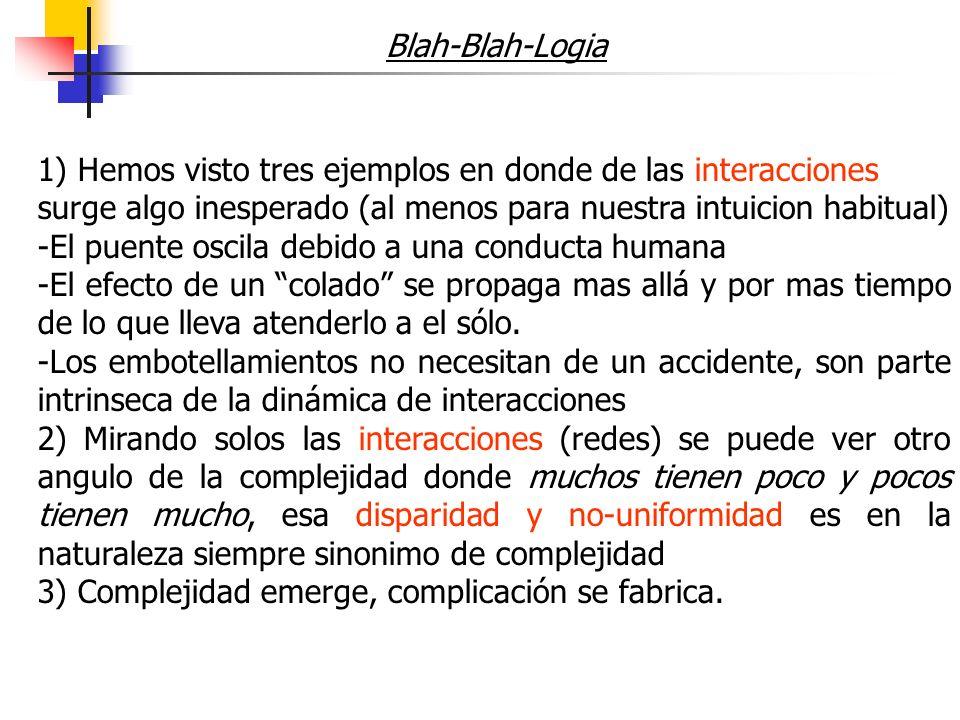 Blah-Blah-Logia 1) Hemos visto tres ejemplos en donde de las interacciones. surge algo inesperado (al menos para nuestra intuicion habitual)