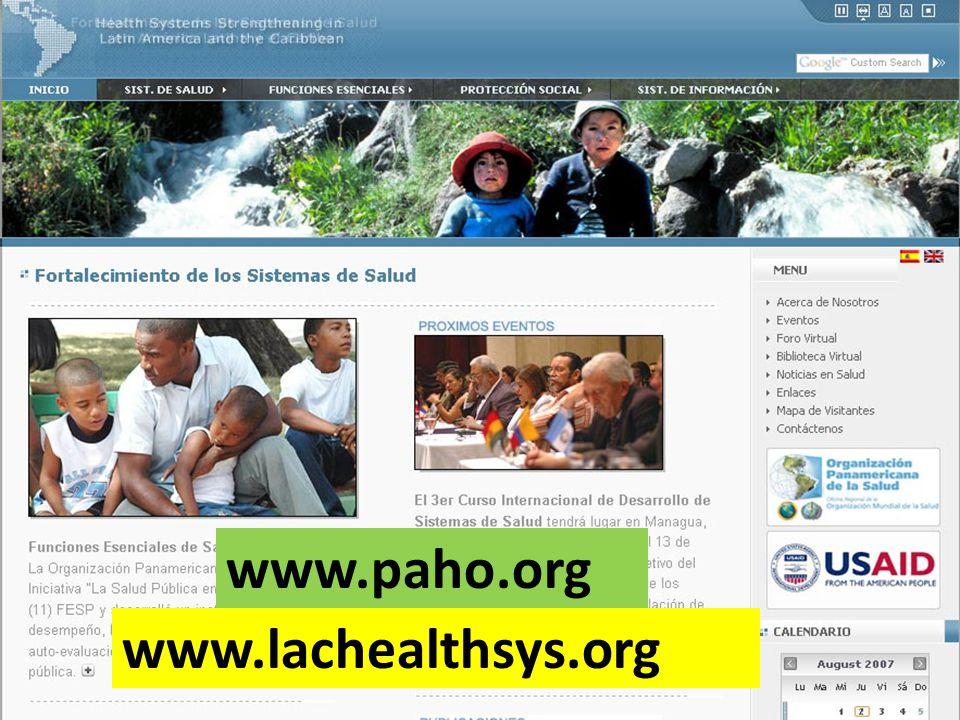 www.paho.org www.lachealthsys.org 2