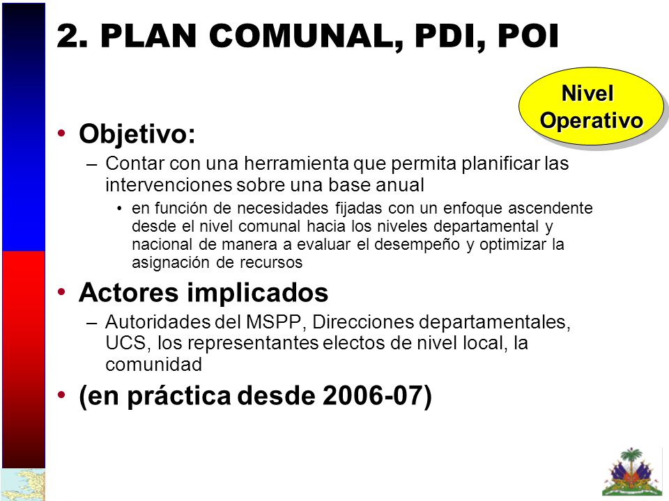 2. PLAN COMUNAL, PDI, POI Objetivo: Actores implicados