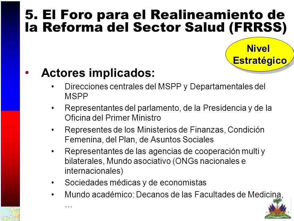 5. El Foro para el Realineamiento de la Reforma del Sector Salud (FRRSS)