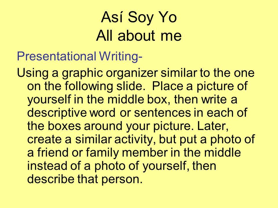 Así Soy Yo All about me Presentational Writing-