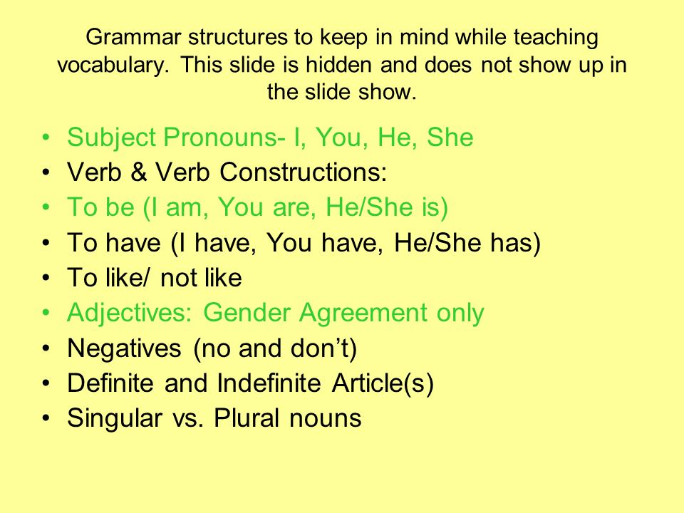 Subject Pronouns- I, You, He, She Verb & Verb Constructions: